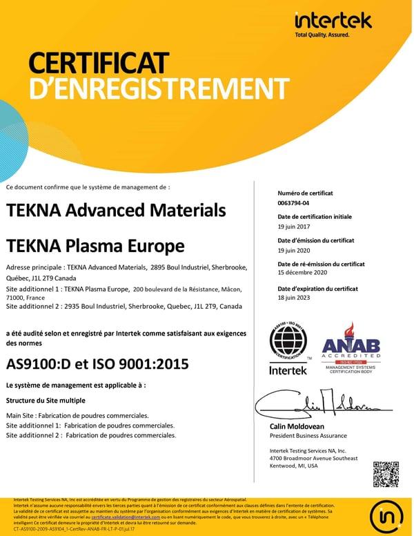AS9100D Certificat
