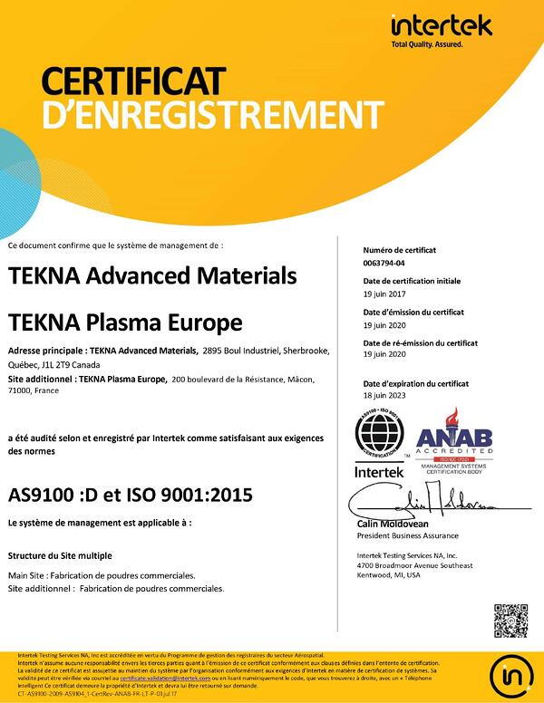 as9100:D et ISO 9001:2015